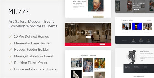 Muzze (1.3.4) - Museum Art Gallery Exhibition WordPress Theme