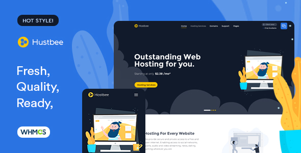 Hustbee (12 Jan 2020) - Hosting HTML & WHMCS Template