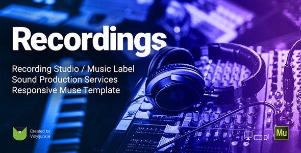 Recordings (1.0) - Recording Studio / Sound Production / Music Label Responsive Muse Template