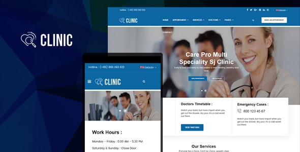 Clinic (3.9.6) - Modern Medical & Healthcare Joomla Responsive Template