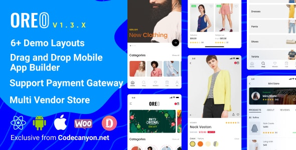 Oreo Fashion (1.3.0) - Full React Native App for Woocommerce