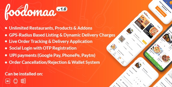 Foodomaa (2.1.1) - Multi-restaurant Food Ordering, Restaurant Management and Delivery Application