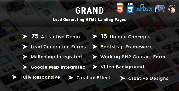 Grand (1.0) - Lead Generating HTML Landing Pages