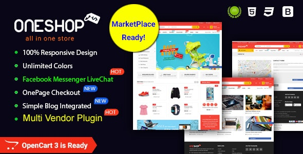 OneShop (1.0.3) - Drag & Drop Muti-vendor & Multipurpose Responsive OpenCart 3 Theme