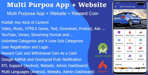 Multi Purpose App + Website + Reward Coin (1.2.0)