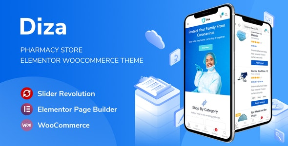 Diza - Pharmacy Store Elementor WooCommerce Theme (1.1.7)